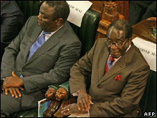 Morgan Tsvangirai and Robert Mugabe in parliament, 2 Dec