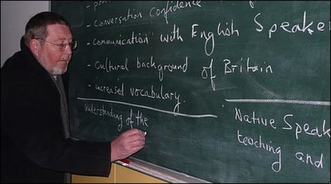 English teacher Chris Lawrence in classroom in Pyongyang