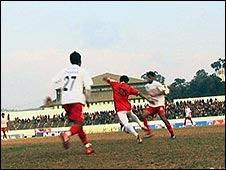 Football action from a Shillong Lajong game