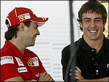 Ferrari drivers Felipe Massa and Fernando Alonso