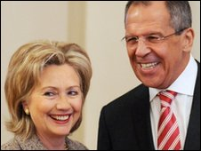 US Secretary of State Hillary Clinton and  Russian Foreign Minister Sergei Lavrov in Moscow, 18 March