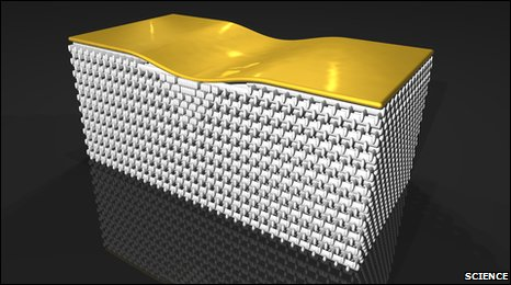 "The ""nanostructure"" of tiny rods bends light around a bump in the gold surface"