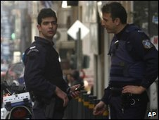 Police officers in Athens, 19 March