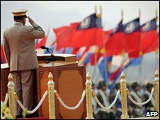 General Than Shwe salutes troops on 27 March 2010