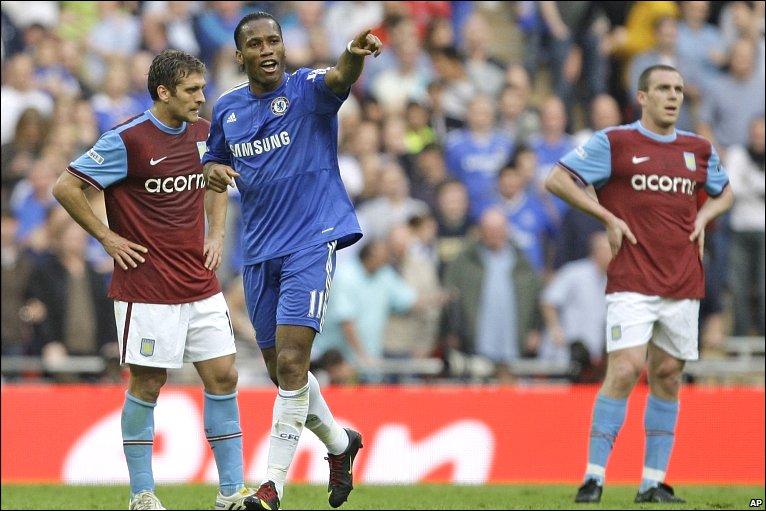Didier Drogba celebrates his goal against Aston Villa