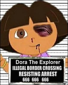 Dora the Explorer is portrayed in a police mugshot with a black eye