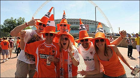 Blackpool fans provide a colourful scene on Wembley Way