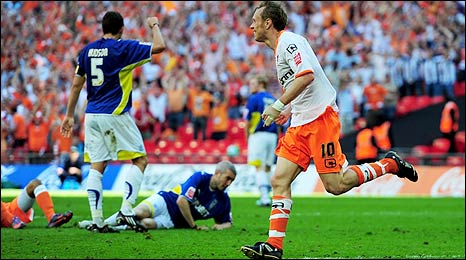Brett Ormerod celebrates giving Blackpool the lead