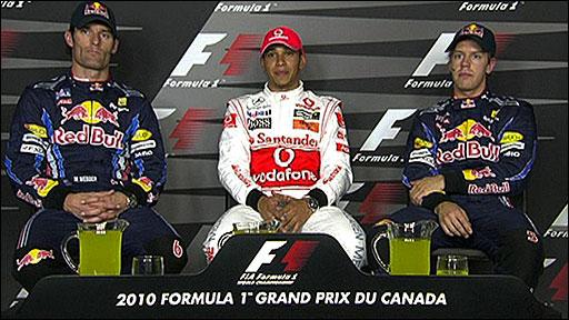 Mark Webber, Lewis Hamilton and Sebastian Vettel