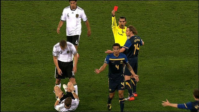 Image result for tim cahill red card versus germany