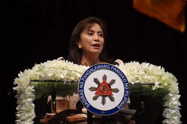 Vice President Maria Leonor Robredo delivers a speech at the 2016 Ramon Magsaysay Awards. PHOTO by Gianna Francesca Catolico/INQUIRER.net
