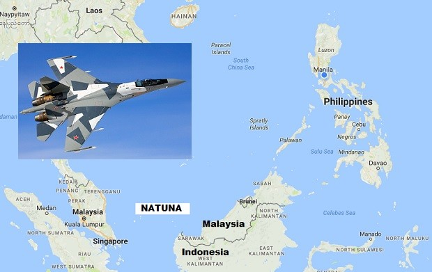 Anticipating threats in disputes in the South China Sea, Indonesia said it would be boosting its military presence in the Natuna Islands. Jakarta said it might deploy Russian-made SU-35 jet fighters (inset) which it would buy from Moscow. GOOGLE MAPS / MINISTRY OF DEFENSE OF THE RUSSIAN FEDERATION PHOTO