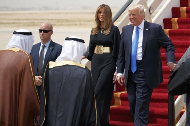 Image result for trump arrives in saudi arabia