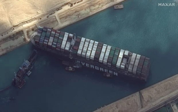 Ever Given container ship is pictured in Suez Canal in this Maxar Technologies satellite image taken on March 26, 2021. Maxar Technologies/Handout via REUTERS ATTENTION