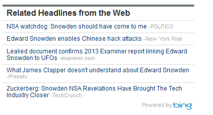 Jon Kelly's coverage of Edward Snowden's UFOs was syndicated to the Wall Street Journal via Bing.
