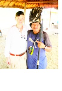 e author Carlita Shaw with Shiwiar Chief Hernan