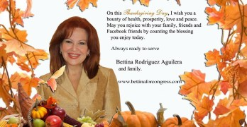 A Thanksgiving greeting from US Congressional Candidate & ET Contactee Bettina Rodriguez Aguilera [Miami-Dade, FL], who supports Congressional Hearings on the US Secret Space Program.  As a U.S. Citizen, you can contribute to her Congressional Campaign no matter where you reside. Go to http://bettinaforcongress.com