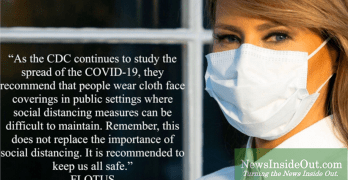 U.S. First Lady Melania Trump advocates on Twitter for the CDC-recommended wearing of face masks.