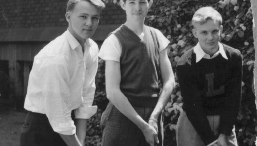 Arnold Palmer, left, with some of his Latrobe High School teammates in the 1940s. (Post-Gazette)