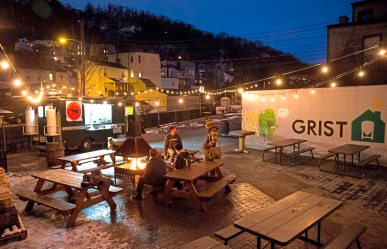 The outside patio of Grist House Craft Brewery in Millvale. (Antonella Crescimbeni/Post-Gazette)