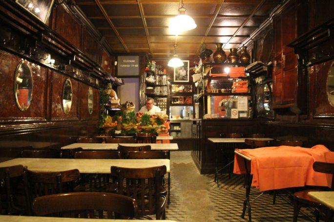 Inside Chez L'Ami Louis at 32 Rue Du Vertbois in the 3rd Arrondissement. (Patricia Sheridan/Post-Gazette)
