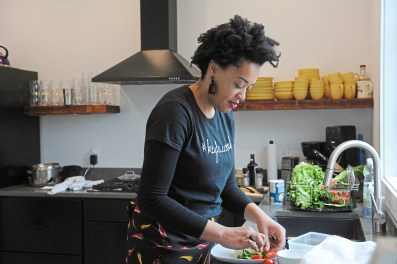 Keyla Nogueira Cook in the kitchen of Navus House on the North Side Tuesday, April 24, 2018 in Pittsburgh. (Pam Panchak/Post-Gazette)