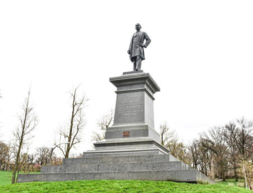 A view of a statute of Edward Manning Bigelow, considered the father of Pittsburgh's city parks. It's by Giuseppe Moretti. The statute is outside Phipps Conservatory in Oakland. (Nate Guidry/Post-Gazette)