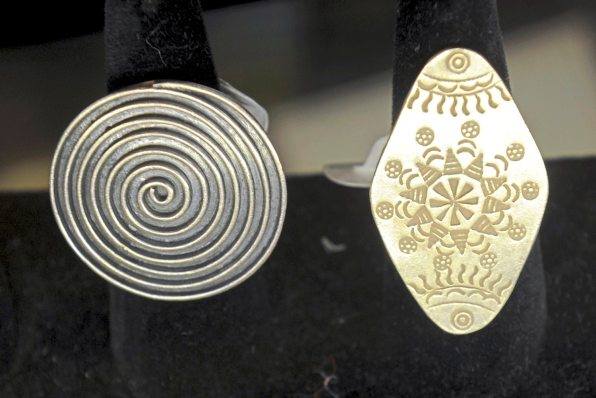 Silver jewelry at Snow Lion Imports on South Craig Street in Oakland. (Pam Panchak/Post-Gazette)