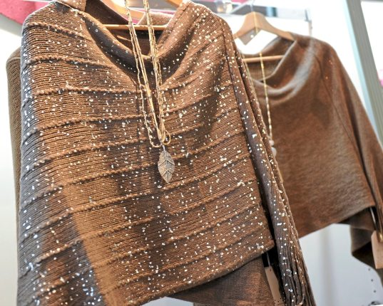 2Chic shawls at Whimsy on Fifth on Fifth Avenue in Oakland. (Pam Panchak/Post-Gazette)