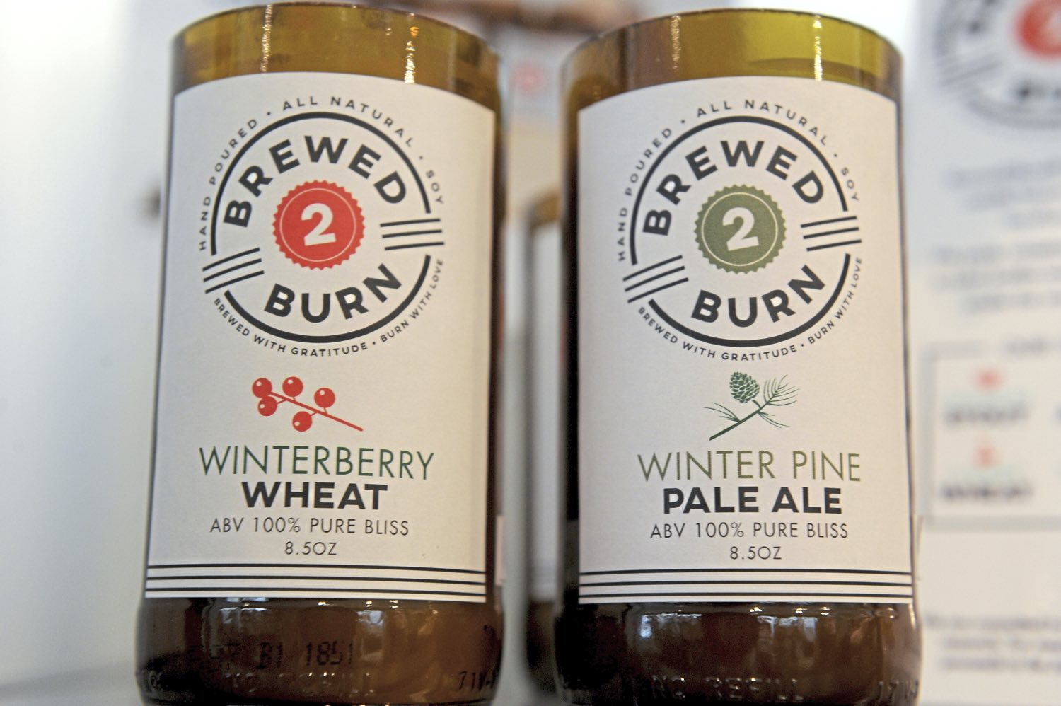 "Pittsburgh-based Brewed 2 Burn, ""hand poured beer inspired candles,"" at Whimsy on Fifth on Fifth Avenue in Oakland. (Pam Panchak/Post-Gazette)"