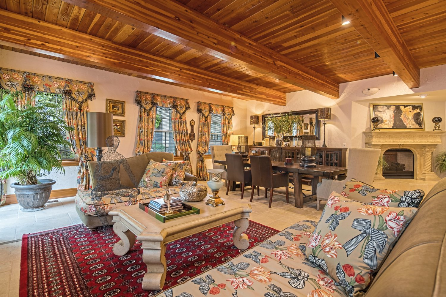 The Family Room with fireplace and pine ceilings at 5228 Westminster, Shadyside. (Howard Hanna Real Estate)