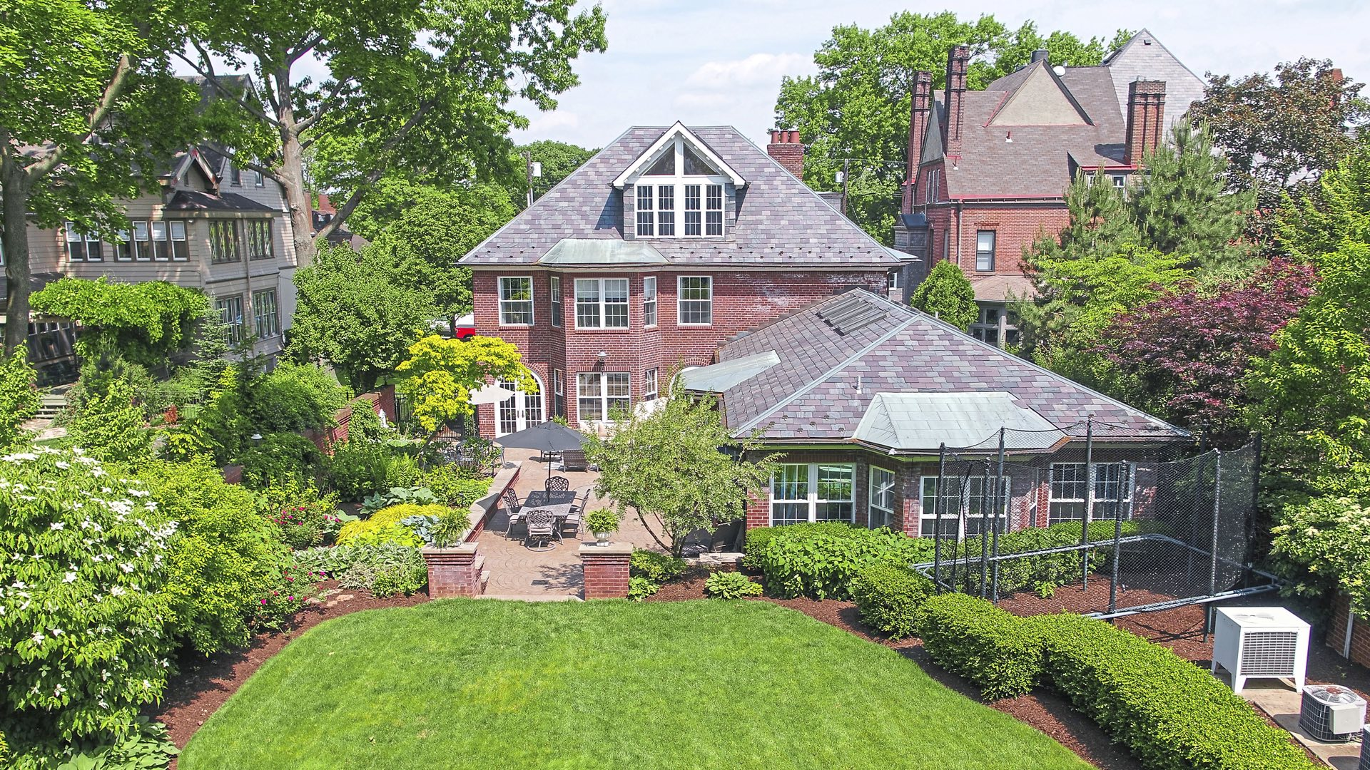 The gardens and pool house of 5228 Westminster Road, Shadyside. (courtesy Howard Hanna Real Estate)