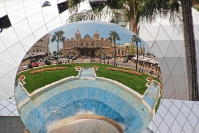 The Monte Carlo Casino reflected the sphere in the garden in front. (Patricia Sheridan/Post-Gazette)