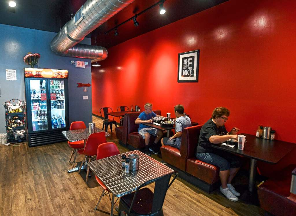 Patrons eat lunch at Crave Mexican Grill in Beaver. (Nate Guidry/Post-Gazette)