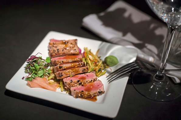 A sesame ahi tuna with ginger wasabi and Asian slaw at the Wooden Angel in Beaver. (Stephanie Strasburg/Post-Gazette)