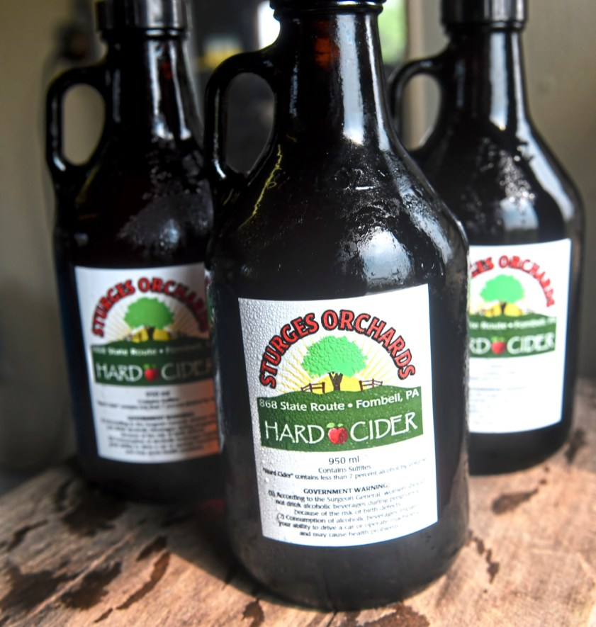 Hard cider from Sturges Orchards taken Monday Aug. 27, 2018, in Fombell, Beaver County. (Nate Guidry/Post-Gazette)