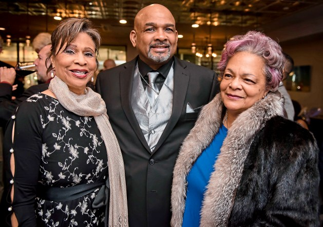 Alyce Claerbaut, left, Gregory A. Morris Jr., and Cheryll M. Chakrabarti at the 2017 Suite Life: Billy Strayhorn Birthday Bash at Hotel Indigo in East Liberty. (Haley Nelson/Post-Gazette)