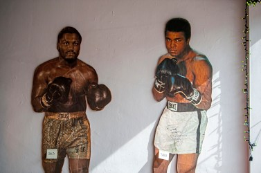 Cardboard cutouts of boxers at Heist in Dormont. (Andrew Stein/Post-Gazette)