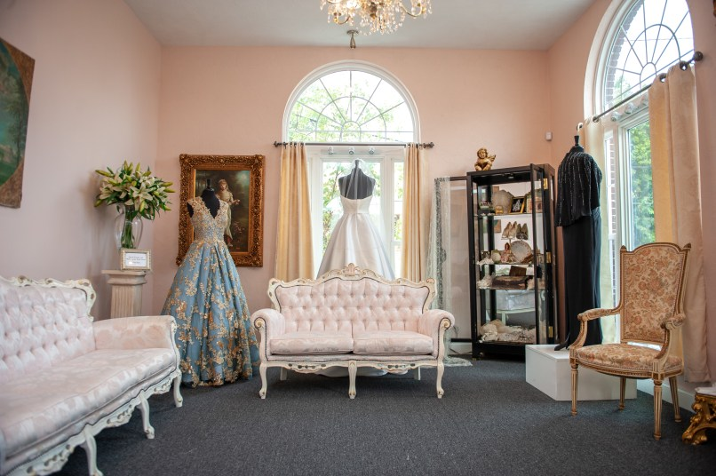 Arched windows at Anne Gregory for the Bride in Dormont. (Andrew Stein/Post-Gazette)