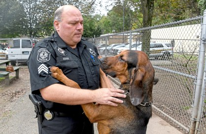 """City of Pittsburgh Police Sgt. Sean Duffy is greeted by """"Cappy"""" ,a 19 month old bloodhound ,as he enters the training area at the Pittsburgh Police & Fire Training Academy, near Washington Blvd, Friday Oct. 26, 2018 in Pittsburgh. Duffy is over the K-9 unit which has 18 dogs. Cappy is the newest member of Pgh Police K9 unit. ( Linda Fuoco reporting for Distinctions) (Darrell Sapp/Post-Gazette)"""
