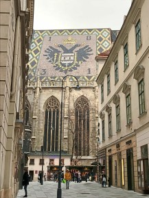 A view of part of the colorful tiled roof of St. Stephen's Cathedral in Vienna, Austria. (Patricia Sheridan/Post-Gazette)