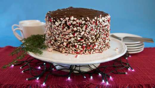 Peppermint chocolate cake made by Marlene Parrish in her home in Mt. Washington. (Haley Nelson/Post-Gazette)