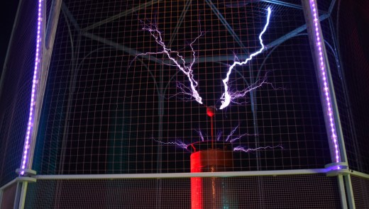 """The Carnegie Science Center is home to a 104 year old Tesla coil consisting of 6,000 feet of copper wire that gives off one million volts of electricity. The coil was made by a teenager named George Kaufman of Ben Avon. The center now mostly uses it during their """"High Voltage Show"""" and in shows about light or electricity. (Katelyn Jones/Post-Gazette)"""