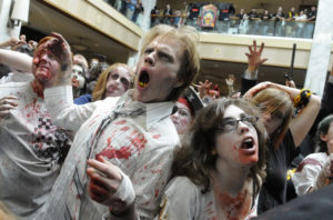 Joshua Pearson traveled from Rochester, NY, to give a zombie growl at the Zombie Walk at Monroeville Mall on Sunday, Oct. 26, 2008. (Steve Mellon/Post-Gazette)