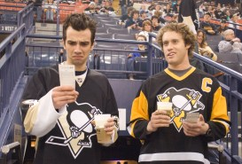 She's Out Of My League PUBLISHED CAPTION: Producer and Pittsburgh native Jimmy Miller, below, helped secure access to the Mellon Arena and a Penguins game for Shes Out of My League starring Jay Baruchel, left, and T.J. Miller.