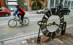 """Artist Myra Falisz's public art bike rack """"Time Travelin' Mike"""" can be seen in front of Seviche on Penn Ave. on November 24, 2015. The Cultural District announced twelve new artist designed bike racks along Penn Ave. from 11th Street to Stanwix."""