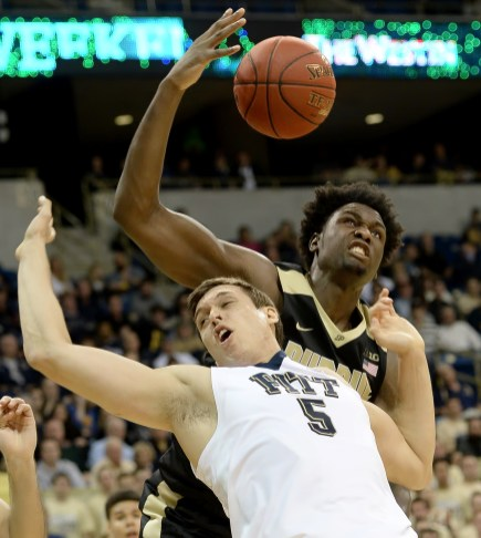 Pitt's Rafael Maia tries to grab a rebound against Purdue's Caleb Swanigan in the first half Tuesday at the Petersen Events Center. Matt Freed/Post-Gazette