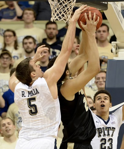 Pitt's Rafael Maia blocks a shot by Purdue's A.J. Hammons in the first half Tuesday at the Petersen Events Center. Matt Freed/Post-Gazette