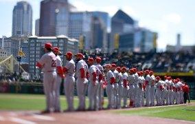 St. Louis watches Pirates introduction. (Steve Mellon/Post-Gazette)