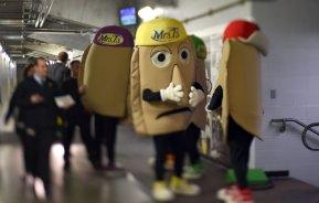 Backstage, Pittsburgh pierogies nervously await the start of their traditional race. (Steve Mellon/Post-Gazette)